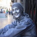 In meinem Job als lebende Statue (damals in Spanien)